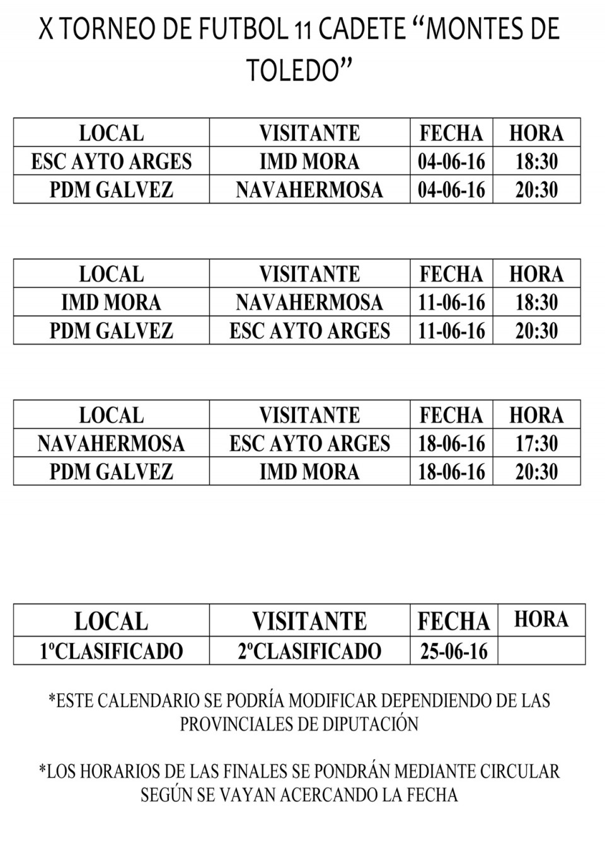 Torneos Fútbol categorías Infantil,Cadete,Benjamín y Alevín.
